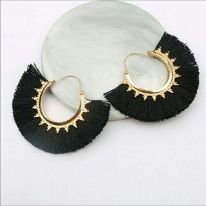 Black Gold Vintage Boho Fringe Fan Drop Earrings
